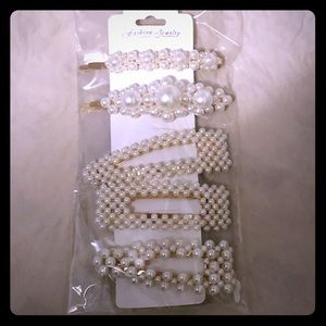 Pearl Hair Clips - Set of 5